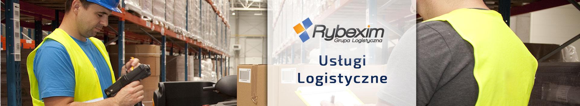 Rybexim - usługi logistyczne - w tle magazynierzy w kamizelkach i kaskach pracujący w magazynie z nowoczesnym sprzętem